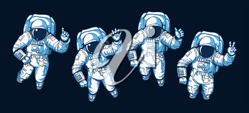 Astronaut ok hello victory signs. Illustrated astronauts floating in vacuum space without gravity with various hand gestures