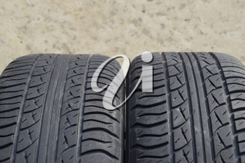 Automobile wheel. Rubber tires. Summer rubber set for the car. Wheel tread pattern.