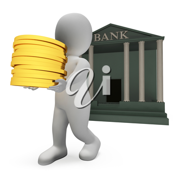 Character Coins Representing Wealth Financial And Banks 3d Rendering