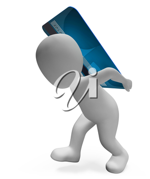 Credit Card Showing Financial Consumerism And Buyer 3d Rendering