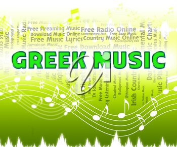 Greek Music Indicating Sound Track And Audio