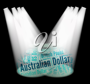 Australian Dollar Representing Currency Exchange And Words