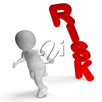 Risk And 3d Character Showing Peril And Uncertainty