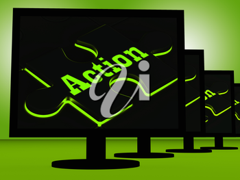 Action On Monitors Showing Acting And Motivation