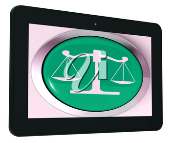 Scales Of Justice Tablet Meaning Law Trial