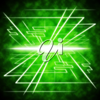 Green Brightness Background Showing Radiance And Lines