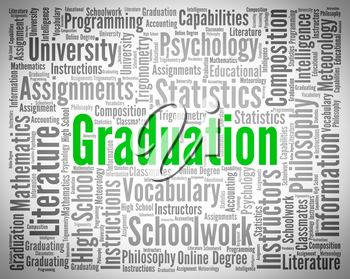 Graduation Word Indicating Studies Qualified And Diploma