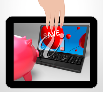 Save Laptop Displaying Promos And Discounts On Internet