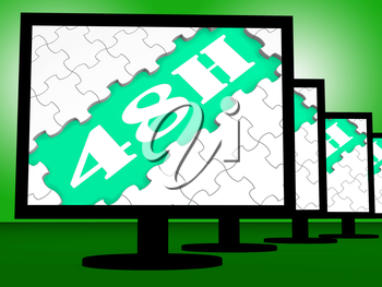 Forty Eight Hour On Monitors Showing 48h Delivery