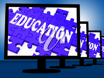 Education On Monitors Showing Learning And Teaching