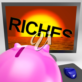 Riches Sinking On Monitor Shows Bankruptcy Or Lost Wealth
