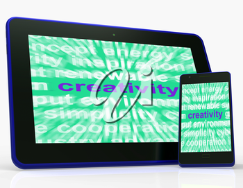 Creativity Tablet  Showing Originality, Innovation And Imagination