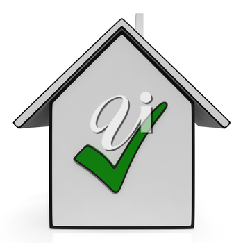 Home Icons With Check Showing House Or Building For Sale