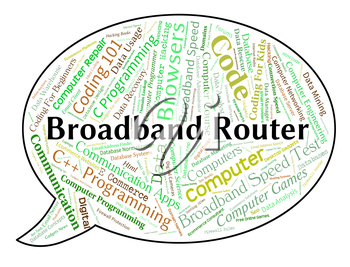 Broadband Router Indicating World Wide Web And Network Server
