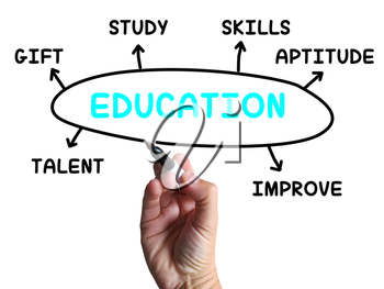 Education Diagram Showing Skills Study And Learning