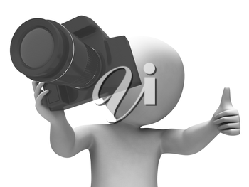 Photography Character Showing Taking A Photo Dslr And Photograph