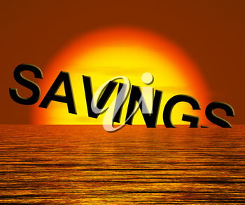 Savings Word Sinking Showing Reduction Of Money Or Wealth