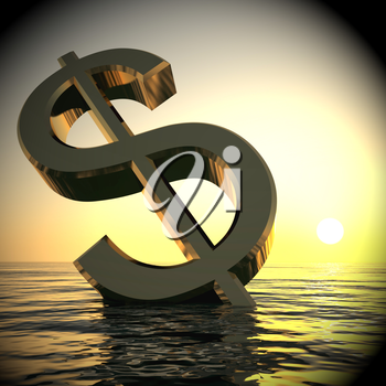 Dollar Sinking And Sunset Shows Depression Recessions 3d Rendering