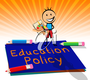 Education Policy Paper Displays Schooling Procedure 3d Illustration