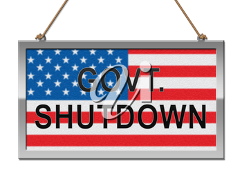 Government Shutdown Notice Means America Closed By Senate Or President. Washington DC Closed United States