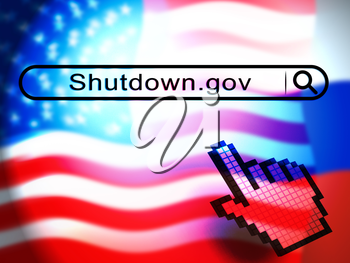 Government Shutdown Pointer Means America Closed By Senate Or President. Washington DC Closed United States