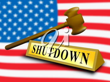 Usa Shutdown Gavel Political Government Shut Down Means National Furlough. Senate And President In Washington DC Create Closure
