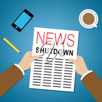 Government Shut Down News Means United States Political Closure. President And Senators Cause Shutdown Across The Nation