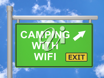 Wifi Camping Internet Access Outside 3d Illustration Means Tourist Travel Campsite Hotspot And Vacation Campground Signal