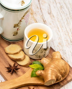 Healthy Ginger Tea Representing Well Natural And Refresh