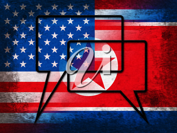 North Korean Peace Talks With Usa 3d Illustration. Peace And Cooperation To Build Accord With Dprk Or Pyongyang Dictator
