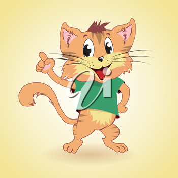 Cartoon cat showing something as idea, vector illustration