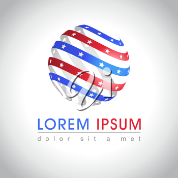 Abstract round shape American flag logo sample. US national symbol icon, vector illustration