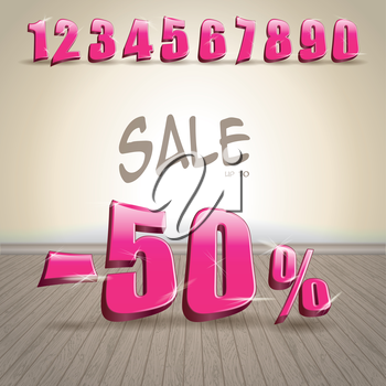 Numbers set in glittering pink metal modern style on the wooden floor background. Vector illustration
