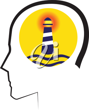 Mental Concept with Lighthouse Design. AI 10 supported.