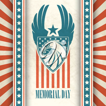 Memorial Day. Typographic card with the American flag and eagle. Vector illustration EPS 10