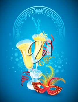 Masquerade mask and champagne. Happy New Year. Vector illustration EPS 10