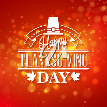 Vector typography design Thanksgiving  Blurred and boke autumn background EPS 10