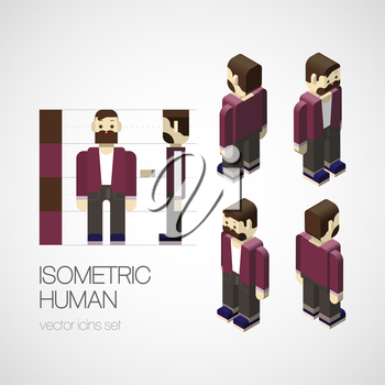 Vector isometric human set. Vector illustration EPS 10