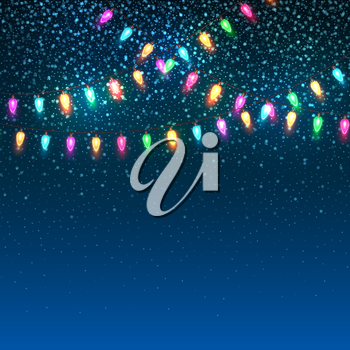 Blue Christmas background with lights. Vector illustration EPS10