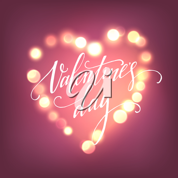 Valentines Day card with Glowing lights heart. Vector illustration EPS10