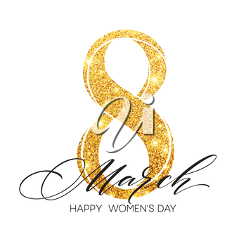 8 March celebration with eight symbol made of gold sparkling glitters. Womans Day concept design