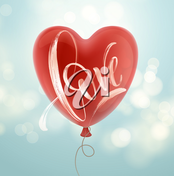 Valentines day card with Love lettering and red balloon. Vector illustration EPS10