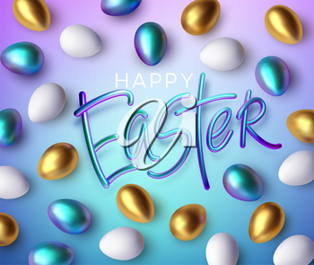 Modern trendy Golden metallic shiny typography Happy Easter on a background of easter eggs. 3D realistic lettering for the design of flyers, leaflets, posters and cards Vector illustration EPS10