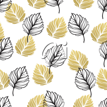 Gold autumn floral background. Glitter textured seamless pattern with fall golden and black leaf. Vector illustration EPS10