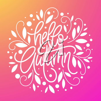 Autumn background and frame of leaves in the style of a thin line art. Handwritten modern lettering. Fall leaves background. Vector illustration EPS10