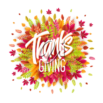 Hand drawn Happy Thanksgiving Day Background. Give Thanks. Vector illustration EPS10