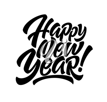 Handwriting inscription Happy New Year. Calligraphy New Year lettering. Design element for advertising poster, flyer, postcard. Vector illustration EPS10