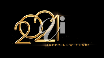 Realistic gold metal inscription 2021. Gold calligraphy New Year lettering on the black background. Design element for advertising poster, flyer, postcard. Vector illustration EPS10