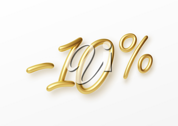 Realistic golden text 10 percent discount number. Vector illustration EPS10