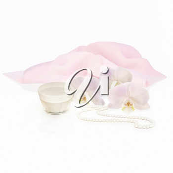 White orchid flowers, string of pearls and jar of moisturizing face cream for spa treatment.3D rendering